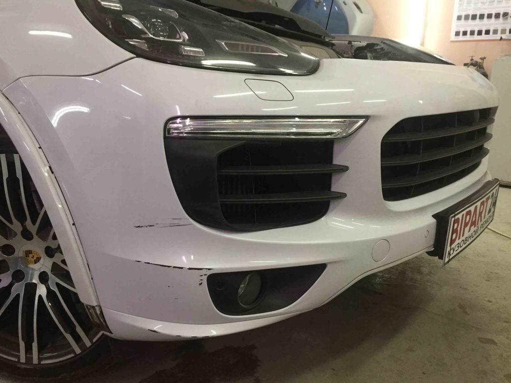 Ремонт переднего бампера на Porsche